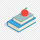 Red apple and two books isometric icon. 3d on a transparent background vector illustration Royalty Free Stock Images