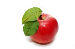 Red apple with two green leaves. Isolated on white Stock Image