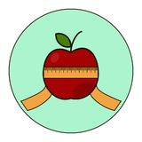 Red apple with type measure vector illustration