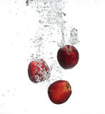 Red apple under water Royalty Free Stock Photos
