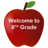 Back to school welcome to 8th Grade red apple Stock Photos