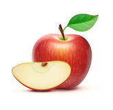 Red apple. Vector illustration of detailed big shiny red apple Stock Photos