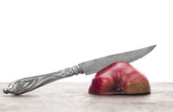 Red apple and Vintage knife, isolated Stock Photos