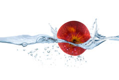 Red apple in the water Stock Photo