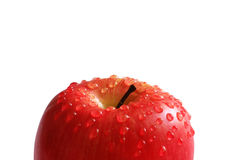 Red apple with water droplets. Isolated on white Stock Photo