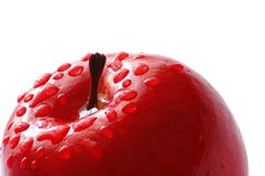 Red apple with water drops iso. Red apple with water  drops isolated on white Stock Photography
