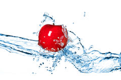 Red apple and water splash isolated Stock Images