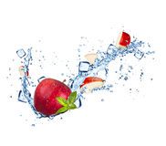 Red apple with water splashes on white Stock Photos