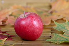 Red apple which has been removed on napkin Royalty Free Stock Photography