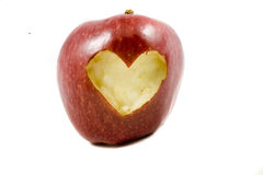 Red apple whit heart Royalty Free Stock Photos