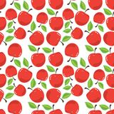 Red apple in white. Vector pattern of red apples and green leaves Stock Photos