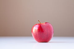 Red Apple on White with Brown Background Royalty Free Stock Image