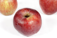 Red apple on white seen from top Stock Photos