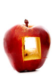 Red apple with a window Stock Photos