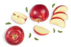 Free Red Apple With Half Isolated On White Background With Clipping Path And Full Depth Of Field. Top View. Flat Lay. Set Or Royalty Free Stock Photo - 176484145