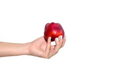 Red apple in woman hand Stock Photo