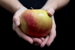 Red apple on a woman`s hand on black background Royalty Free Stock Image