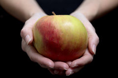 Red apple on a woman`s hand on black background Stock Photography