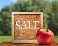 Red apple with wooden frame Royalty Free Stock Photos