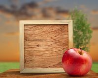 Red apple with wooden frame Stock Photography