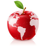 Red Apple World Map Stock Photography