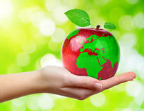 Red apple with world map Stock Photos