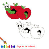 Red apple and worm cartoon. Page to be colored. Royalty Free Stock Images