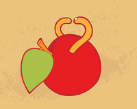 Red apple with worms Stock Photo