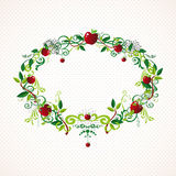 Red apple wreath cute illustration Stock Image
