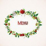 Red apple wreath illustration Royalty Free Stock Images