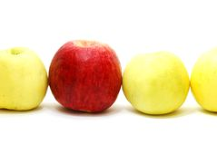 Red Apple between Yellow Stock Photography