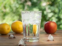 Free Red Apple, Yellow Lemons, Ice Cubes And Glass With Melting Ice, Close Up View. Green Leaves On Background. Fresh Fruit Stock Photography - 154132192