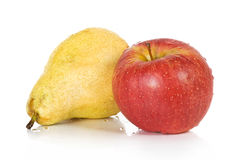Red apple and yellow pear Stock Photos
