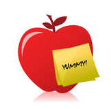 Red apple with an yummy illustration design. Over white Stock Photography