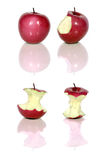 Red apples. Four red apples and apple cores over white Stock Photo