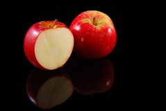 Red apples. Fresh red apples isolated on black background Royalty Free Stock Images