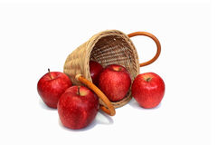 Red apples. In basket isolated on a white background Stock Photography