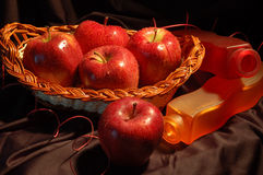 Red apples. In the basket Stock Photo
