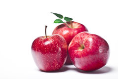 Red apples. Tree red apples on a white background Royalty Free Stock Image