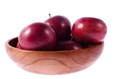Red apples. Some big red apples in wood dish royalty free stock images