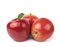Red apples. With leaves  on white Stock Photo