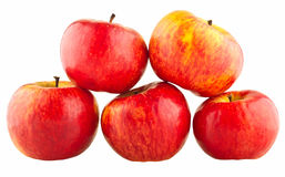 Red apples. On white isolated background Stock Photos