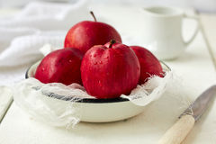 Red apples. Fresh ripe red apples in bowl Stock Photography