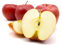 Red apples. Isolated on the white background royalty free stock images