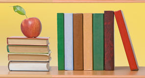 Red Apples And Books Stock Photo