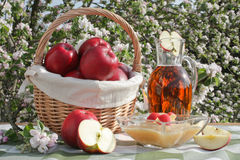 Red apples, applesauce and apple juice. Red apples in a basket, applesauce in a bowl and a bottle of apple juice with a blooming apple tree in background Royalty Free Stock Photo