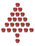 Red Apples Arranged in Christmas Tree Shape Royalty Free Stock Images