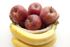 Red apples and bananas Stock Photos