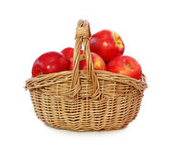 Red apples in baske royalty free stock image
