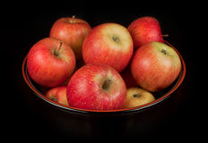 Red apples in a basket Stock Photo